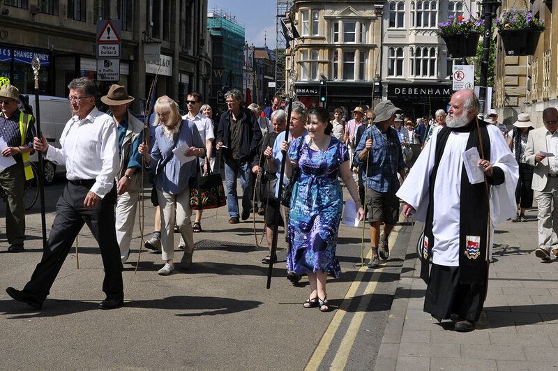 The beating the bounds procession takes over Oxford's Broad Street.