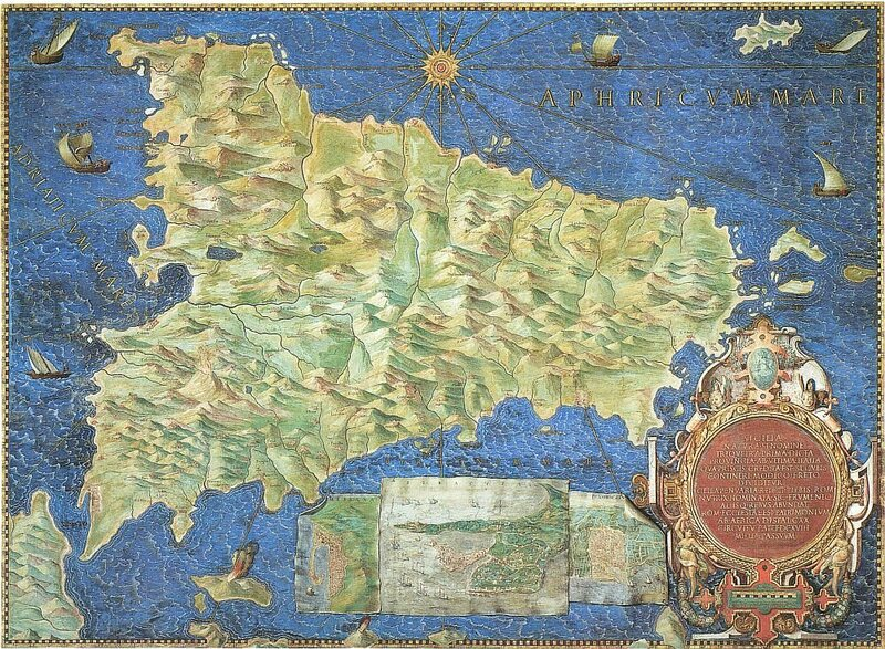 A (reversed) 16th-century map of Sicily. The sun's rays are pointing towards the Conca D'Oro