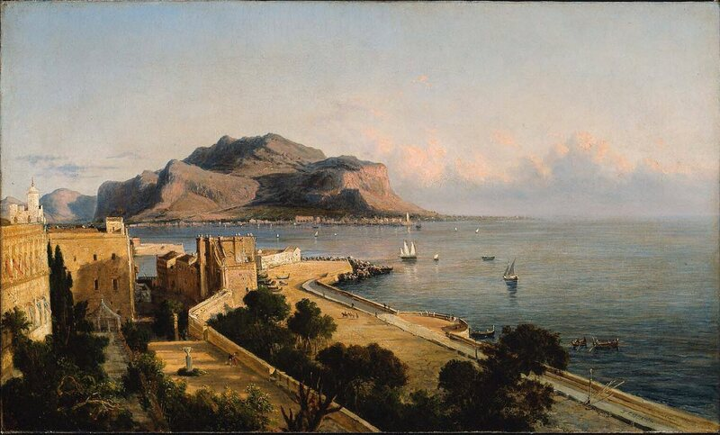 A port in Palermo, Italy, painted by George Loring Brown in 1856.