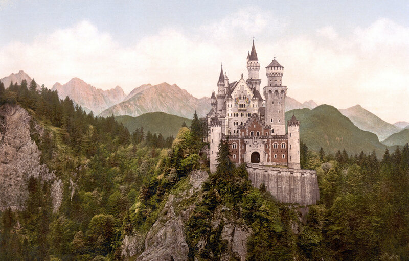 Neuschwanstein Castle in Bavaria, not long after it was first built.