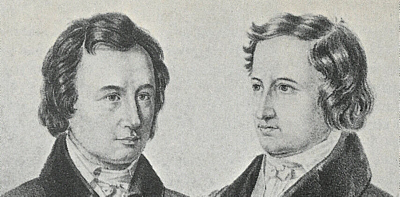 "Detail of Jacob and Wilhelm Grimm from a 1837/38 lithograph of the ""Göttingen Seven."""