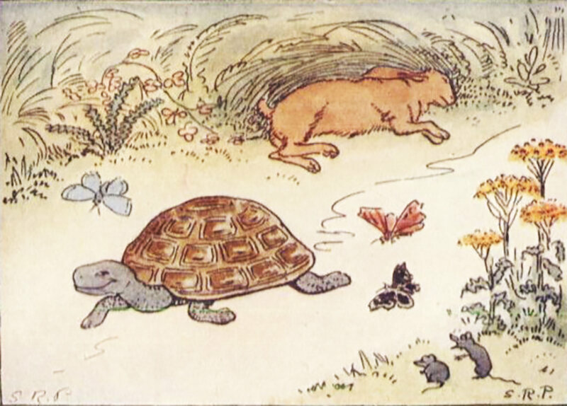 An illustration of <em>The Tortoise and the Hare</em> from 1927 book <em>Childhood's Favorites and Fairy Stories</em>.