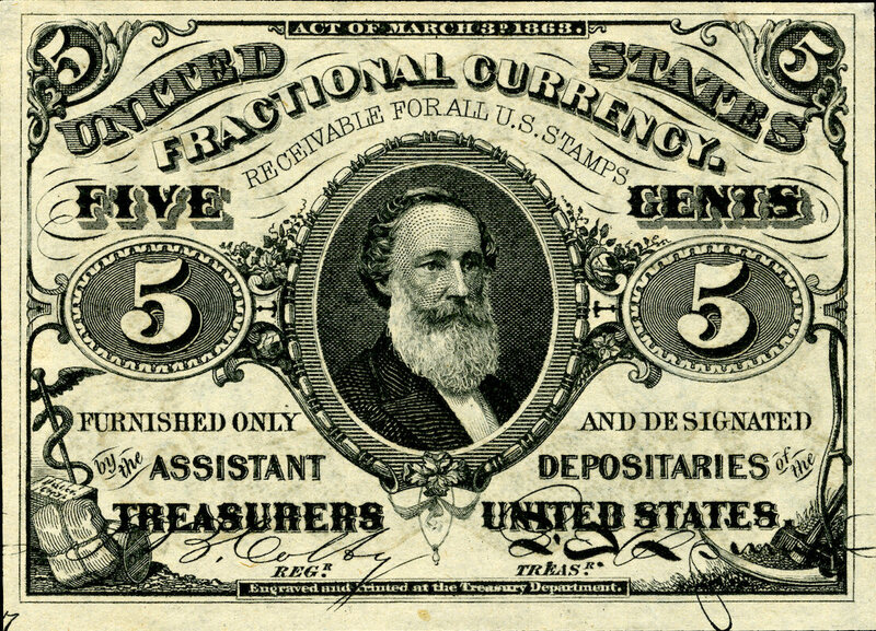 Front of the five-cent bill featuring Clark