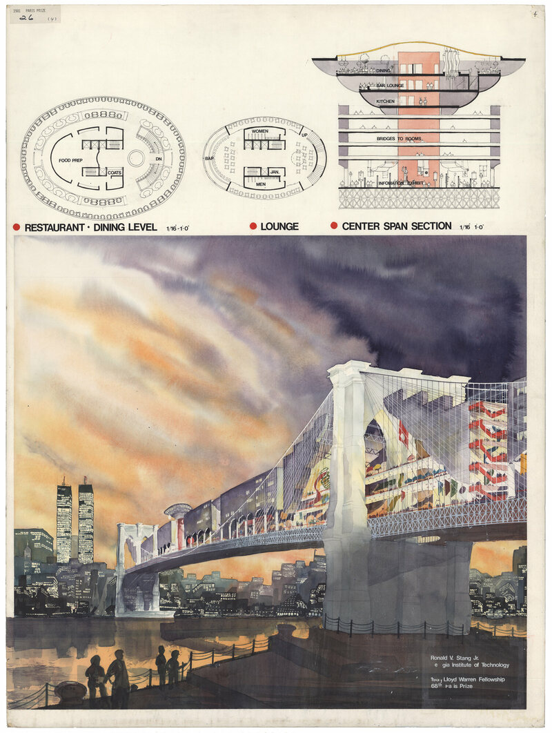 Ronald V. Stang's entry for 68th Lloyd Warren Fellowship, Paris Prize in Architecture, <em>Recycling the Brooklyn Bridge</em>, 1981.