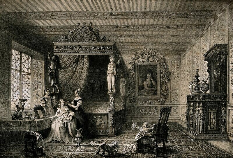Diane de Poitiers, a 16th-century French noblewoman, in her bed-chamber in the Château de Chenonceau, having her hair dressed