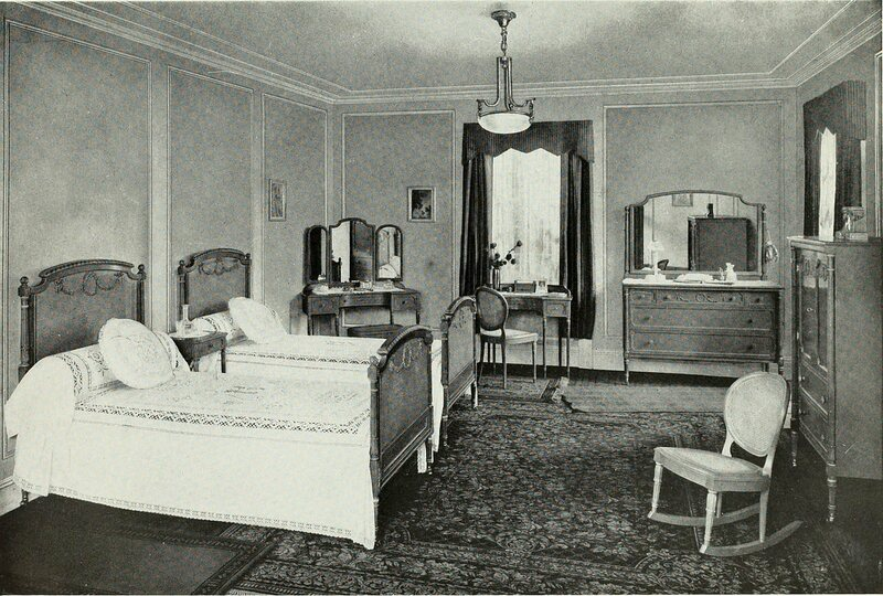 Twin beds shown in the 1919 book <em>Color Schemes for the Home and Model Interiors</em>.