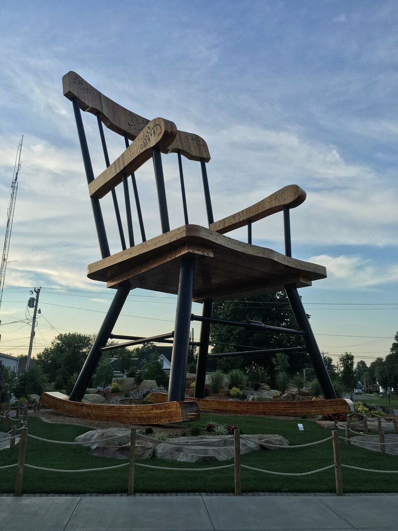 The world's largest rocking chair is in Casey, Illinois.
