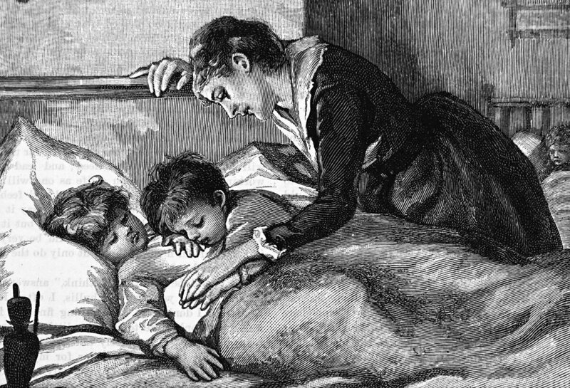 A mother tucking her children into bed, 19th century.