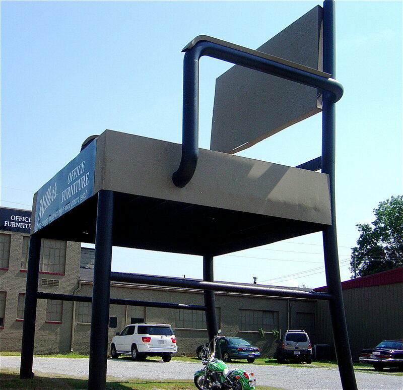 A super-sized office chair in Anniston, Alabama.