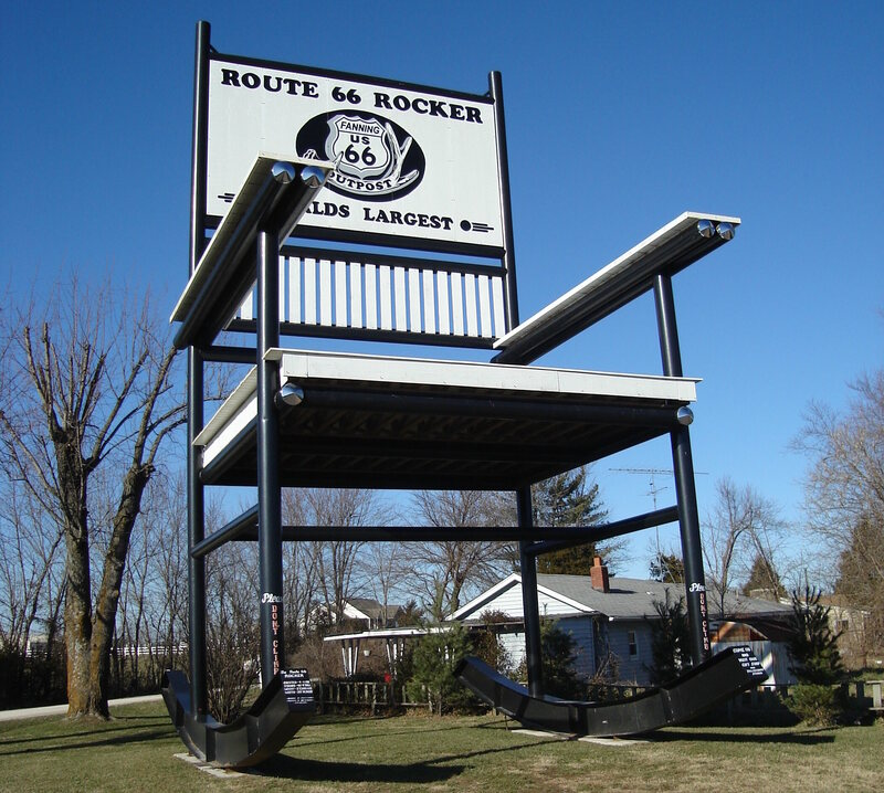 The rocking chair on Route 66, located in Cuba, Missouri.