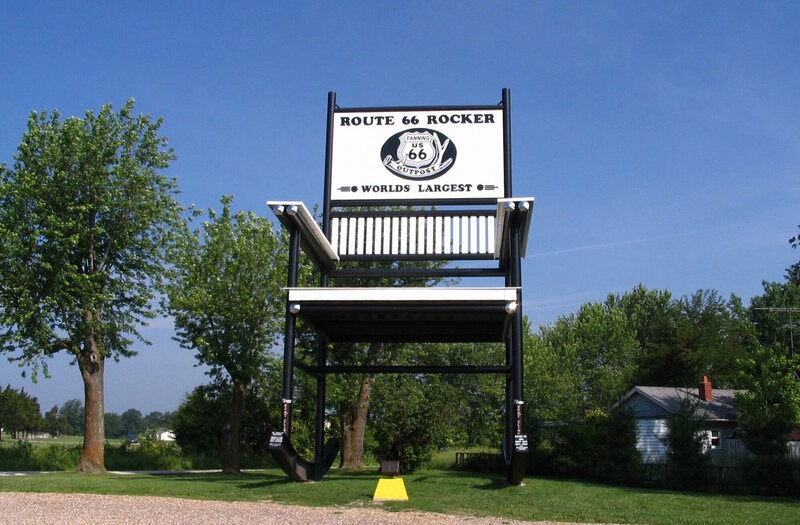 The Route 66 record holder was bested by a bigger rocking chair in Illinois.
