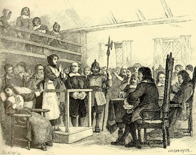 A depiction of the Salem Witch Trials. A text by Increase Mather, who oversaw the Salem Witch Trails, is available for transcription.
