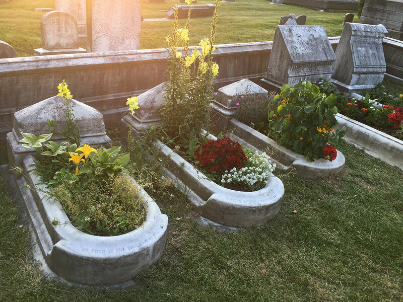 The plants that the gardeners use in the graves are all historically accurate.