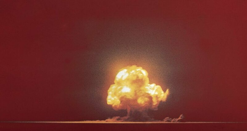 The Trinity test detonation.