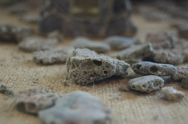 Small chunks of trinitite, on display at the New Mexico Museum of Space History.