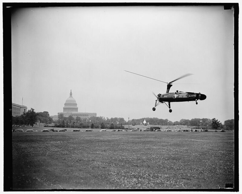 Autogyro tested to deliver the mail in Washington, D.C., 1938