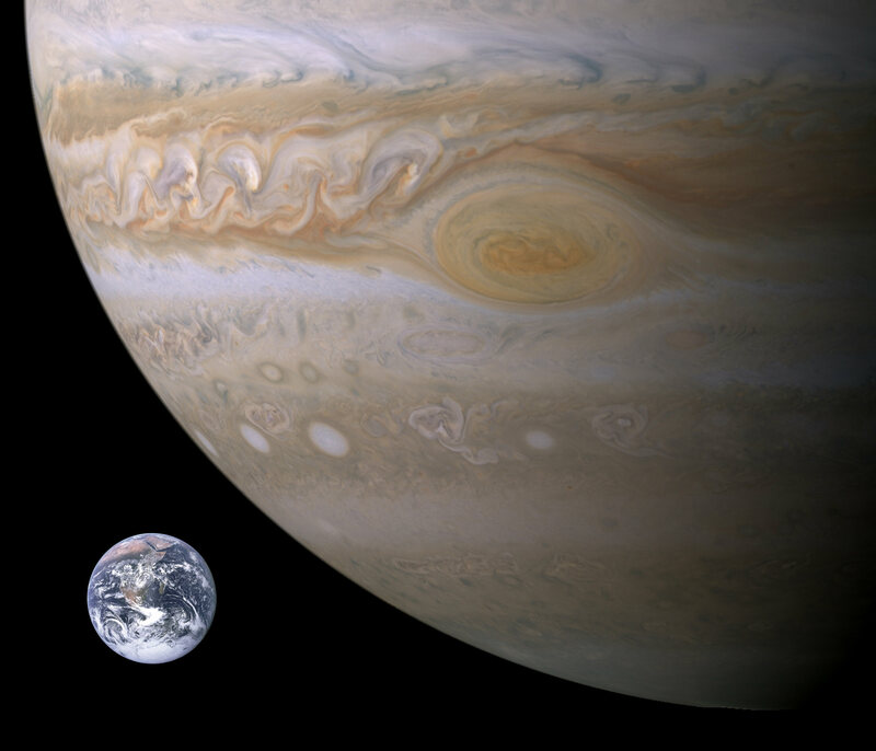 An approximate size comparison between Earth and the Great Red Spot. No, it's not watching us.