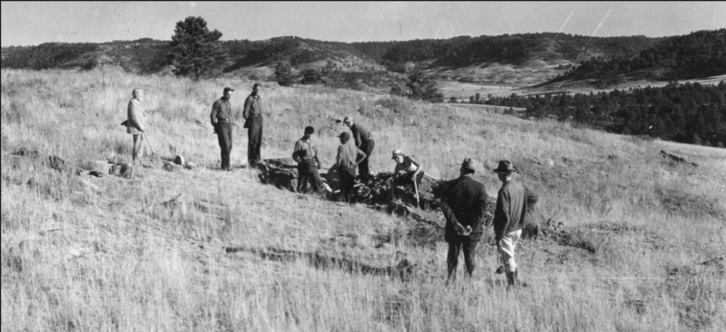 George Wieland (left) supervises an excavation at Fossil Cycad in 1935.