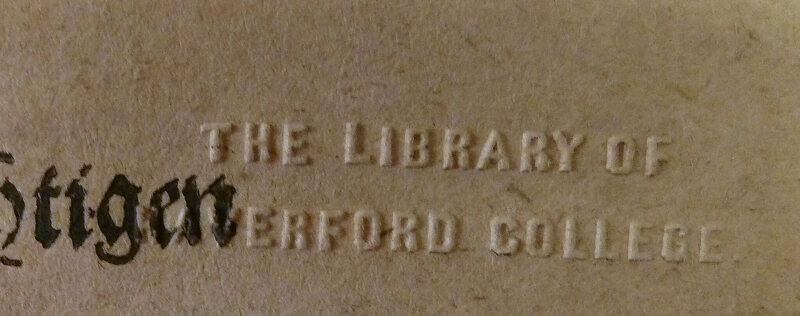 A Haverford Library College stamp. Shinn removed identifying marks from the books he stole in order to re-sell them.