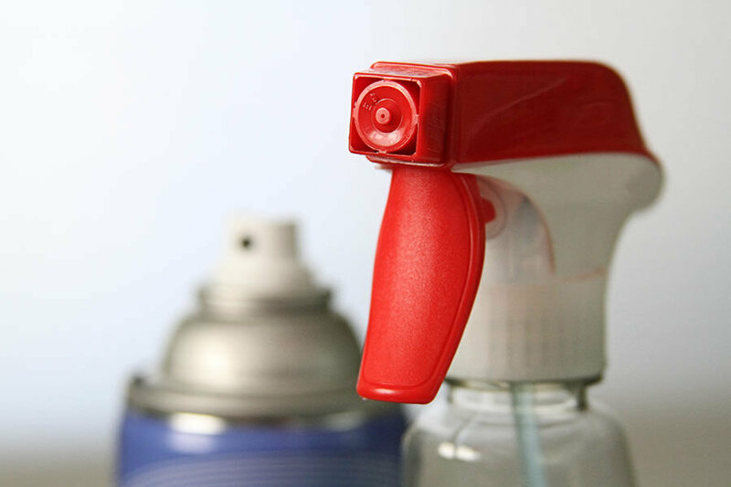 A close-up of a Windex spray nozzle.