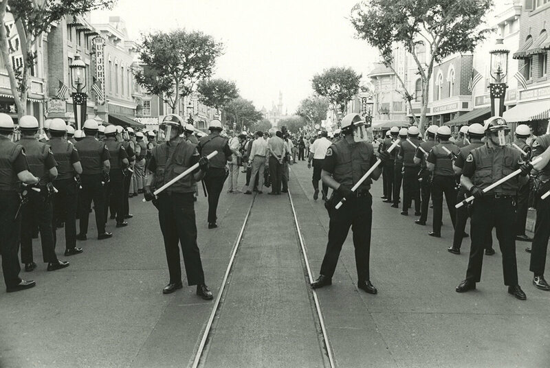 Police enter the park in response to the Yippie invasion.