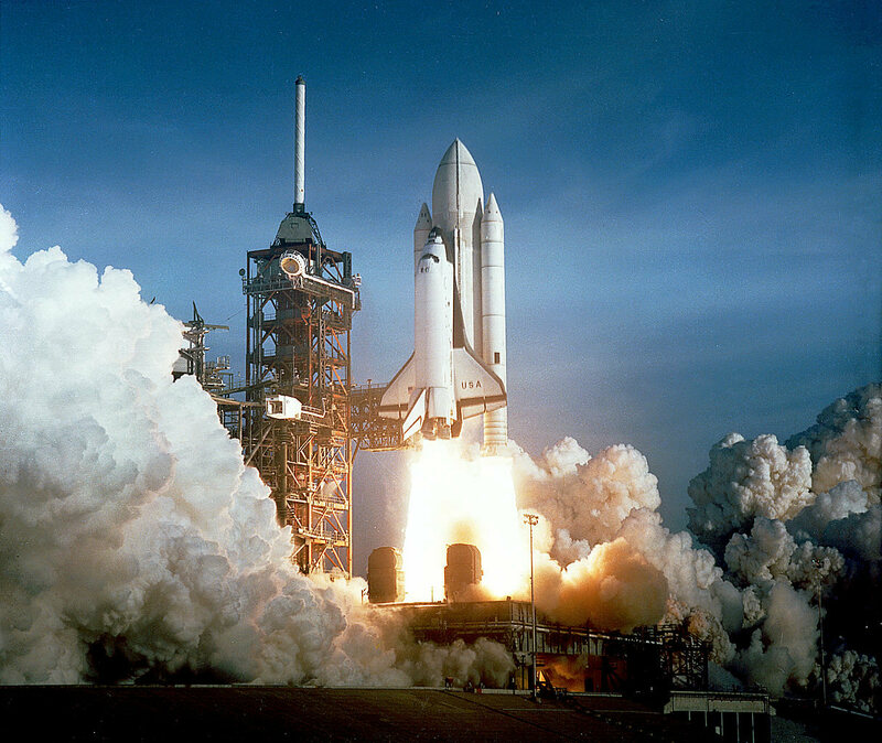 STS-1, the Space Shuttle <em>Columbia</em>, launching on April 12, 1981, from Kennedy Space Center in Florida.