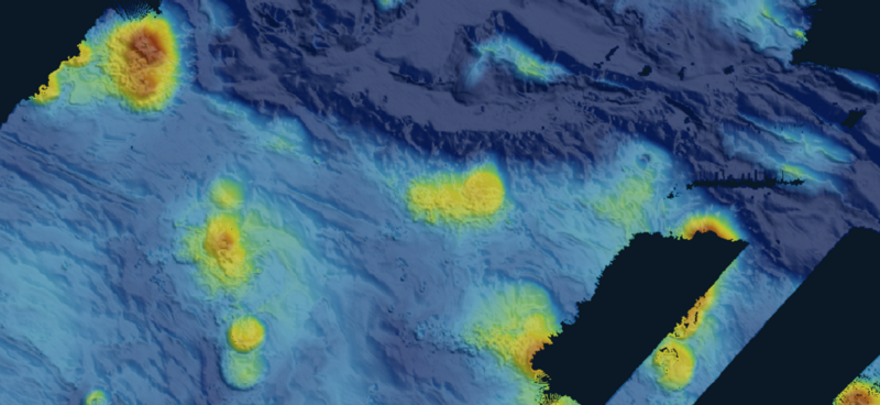 The dark blue area is the Diamantina Trench southwest of Perth. It is up to 26,401 feet deep.