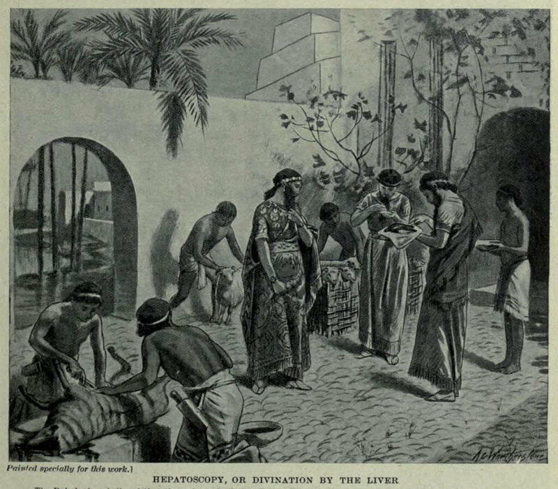 A depiction of Hepatoscopy in Mesopotamia.