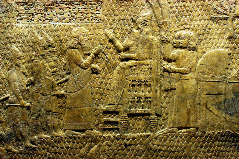 A bas-relief depiction of Sennacherib, the Assyrian monarch who used liver divining to ascertain the reason his father died.