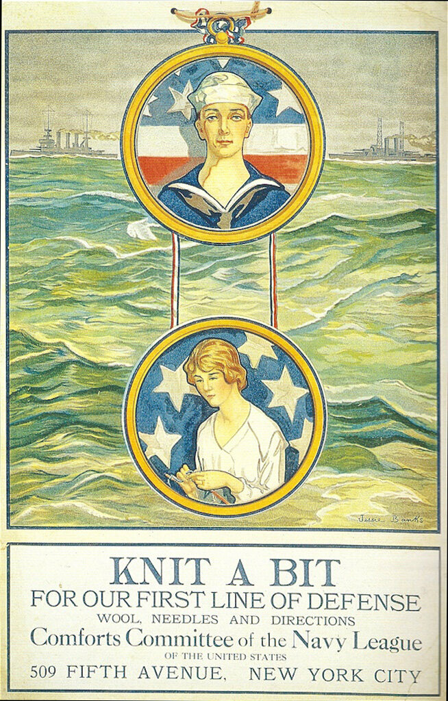 A poster to promote knitting from the Comforts Committee of the Navy League of the United States.