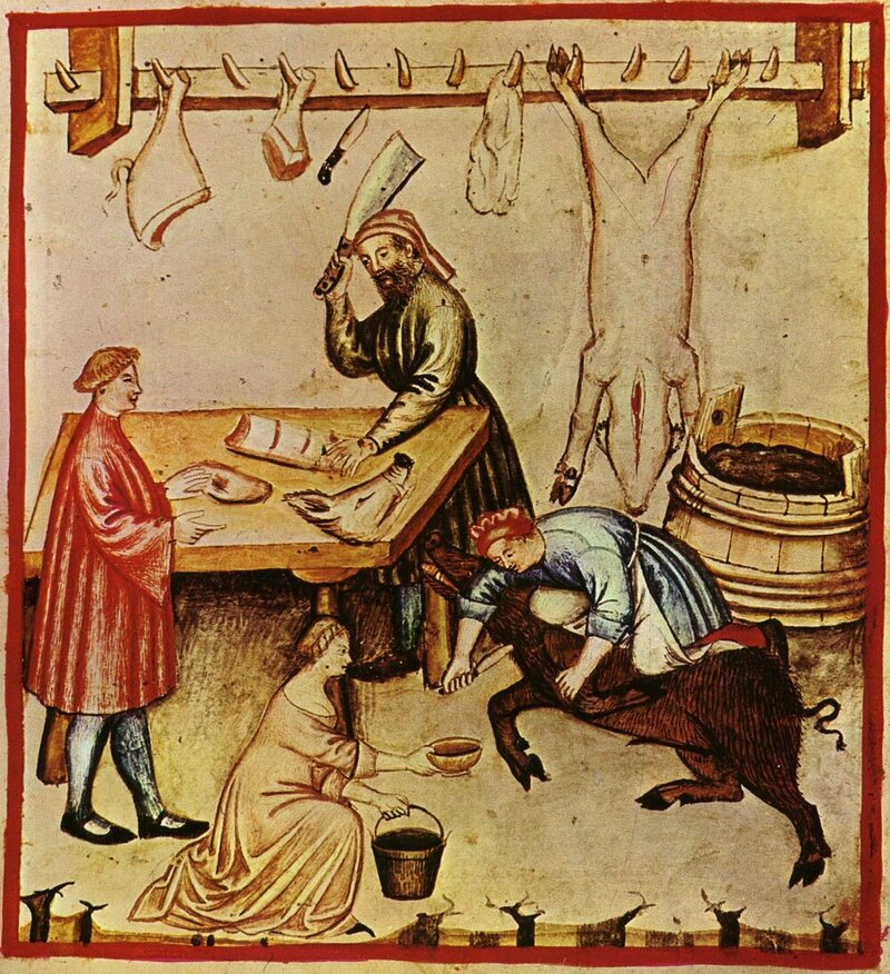A scene showing a 14th-century butcher at work. On fast days, no animal products could be eaten.