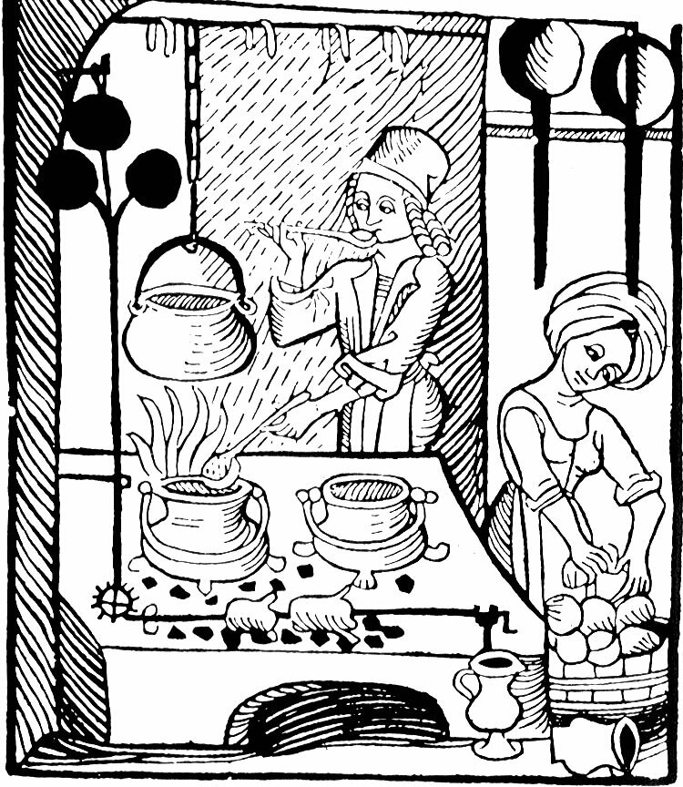 A woodcut showing a medieval kitchen.