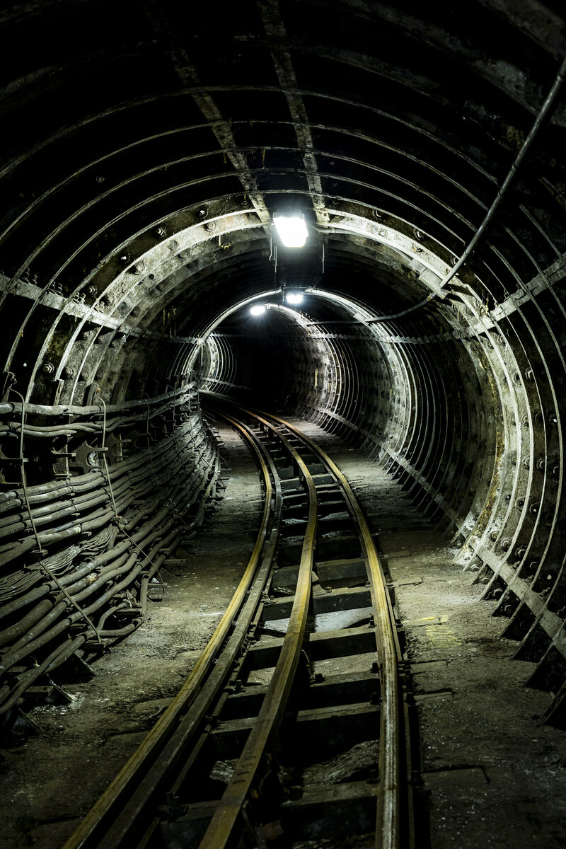The tunnels resemble those of the Tube, just smaller.