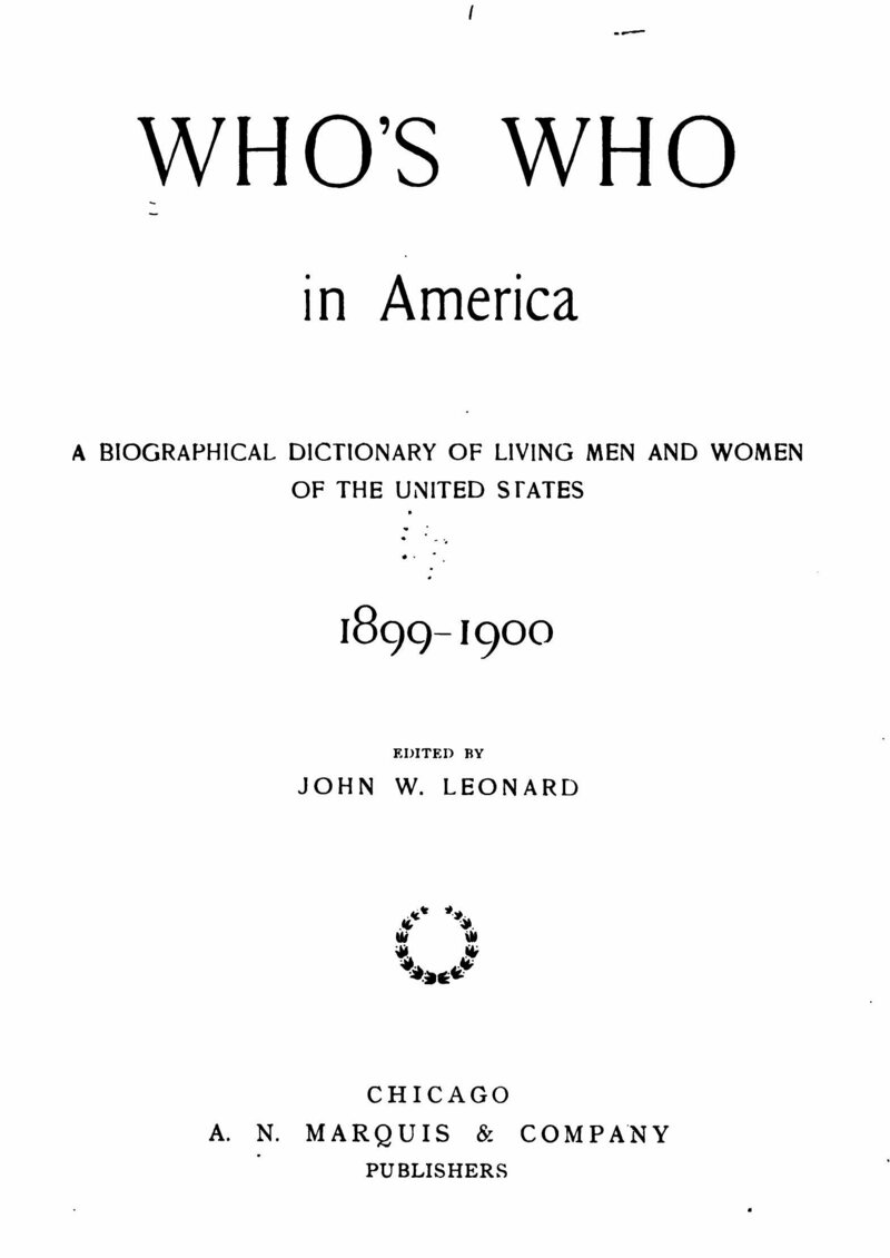 The title page to the 1899-1900 edition of <em>Who's Who in America</em>.