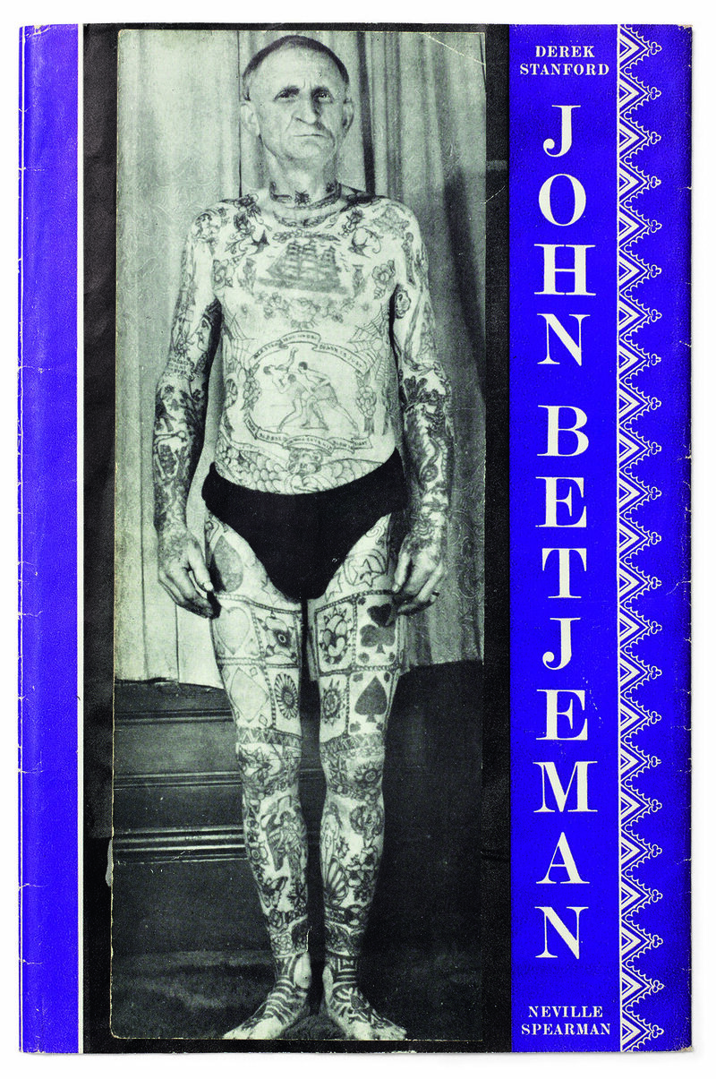A book of <em>John Betjeman</em> poetry with its cover modified.
