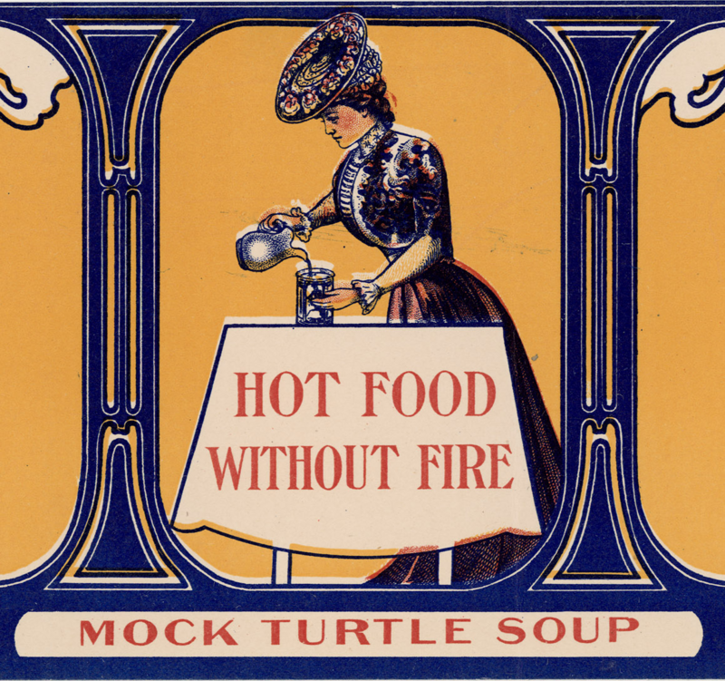 Part of the label from a tin of mock turtle soup, 1906.