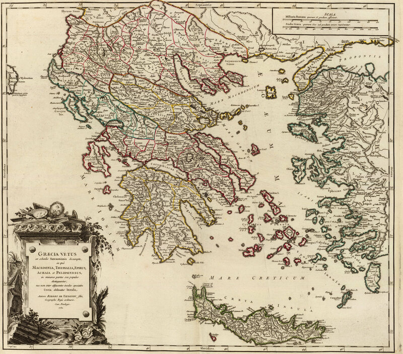 A 1752 map, by Robert de Vaugondy, of ancient Greece and its territories.