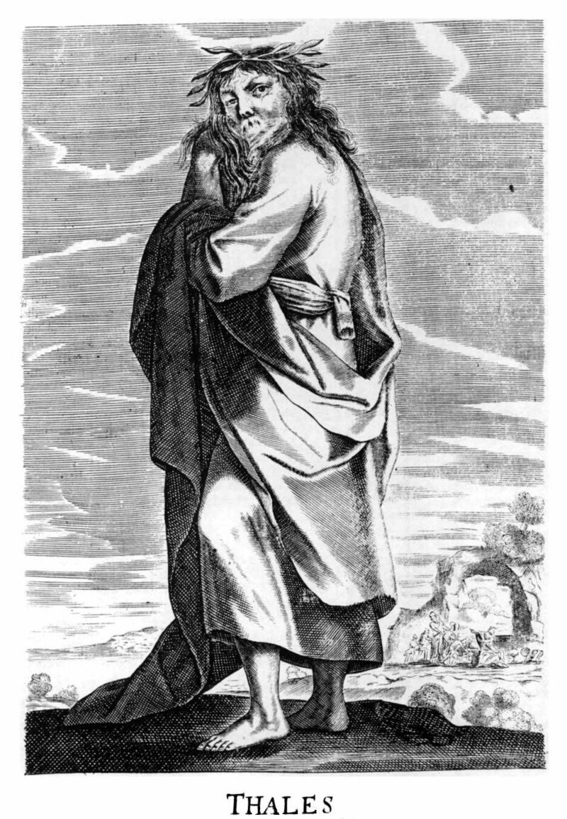 Engraving of Thales by Thomas Stanley, from <em>The History of Philosophy</em>, 1655.
