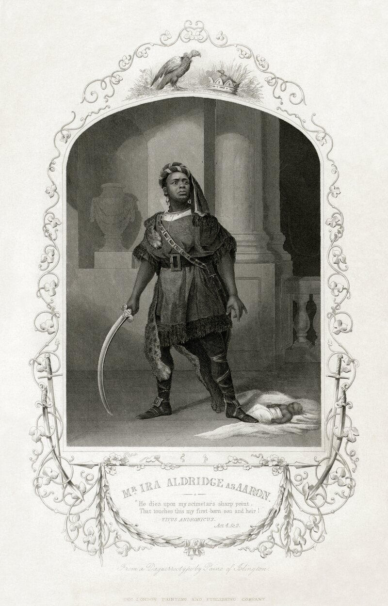 """Engraving of Ira Aldridge as Aaron in <em>Titus Andronicus</em> (""""Is black so base a hue?""""), c. 1852"""