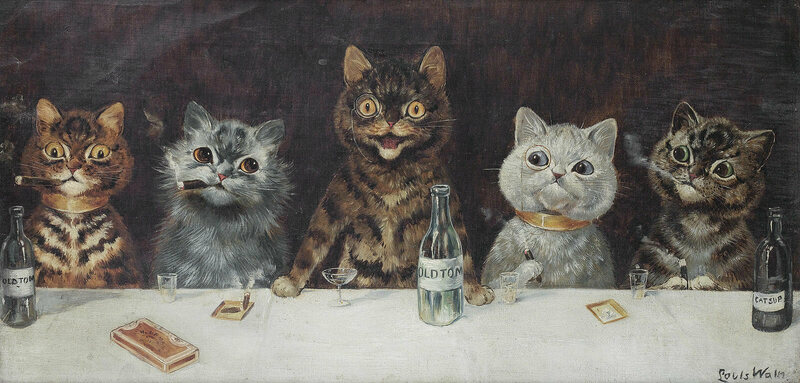 <em>The Bachelor Party</em> by Louis Wain.