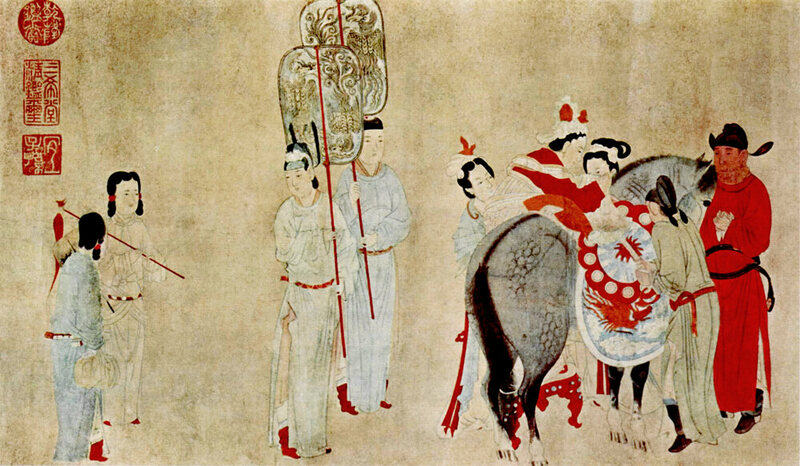 A 14th-century Yuan Dynasty painting shows a high-ranking Mongol woman ascending a horse.