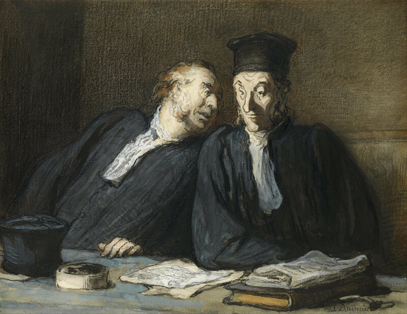 <em>Two Lawyers Conversing</em>, an 1860s illustration by French artist Honoré Daumier.