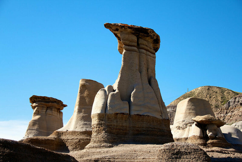 The Hoodoos of Drumheller Valley in Canada, where there will be an eclipse on August 23, 2044.