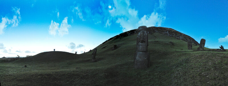 A total solar eclipse over Easter Island in 2010. Easter Island will experience a partial solar eclipse on July 2, 2019, and another on December 14, 2020.