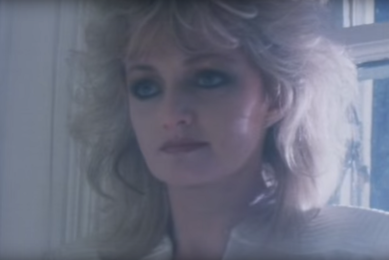 """Bonnie Tyler in the """"Total Eclipse of the Heart"""" music video, 1983."""
