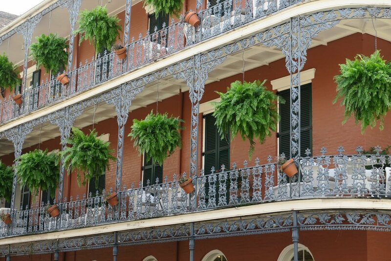 The balconies of the LeBranche House feature a popular oak leaf and acorn design.