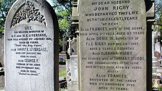 Eleanor Rigby's headstone at St Peter's Church, Church Road, Woolton.