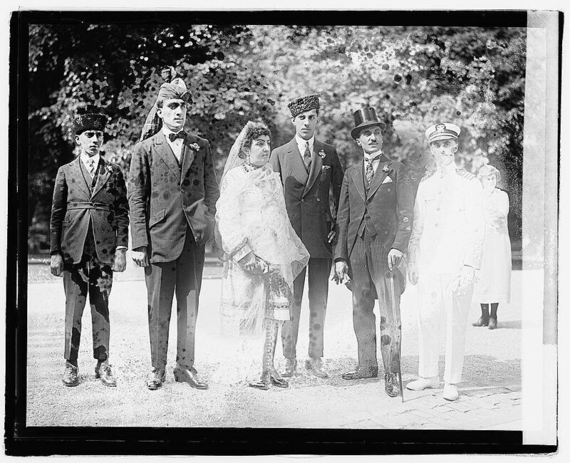 Weyman (far right) posing with Princess Fatima of Afghanistan and her sons.