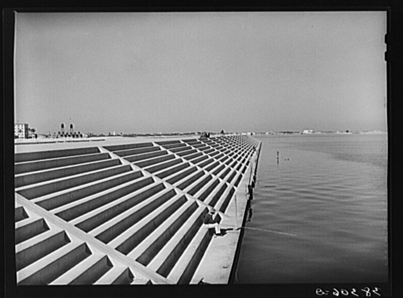 The Corpus Christi seawall, just after completion in 1940.
