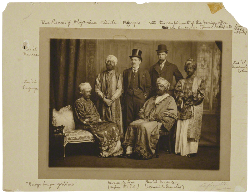 The <em>Dreadnought</em> hoaxers in their Abyssinian regalia, with Virginia Woolf on the far left.